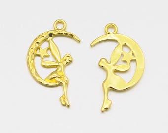 Fairy Charms Gold Fairy Charms Fairy Tale Charms Moon Charms Gold Moon Charms BULK Charms Wholesale Charms Fairy Charm Gold Charm 50 pieces