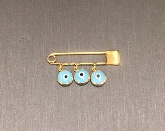 Gold Evil Eye Safety Pin
