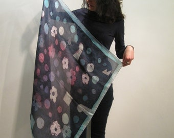 Hand-painted natural silk sguare size 90 x 90 cm. [35 x35.in.] in black, violet, gray, pink, blue.