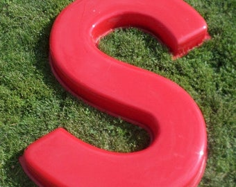 """ON SALE Large, 49"""" Tall, Letter, S, Marquee, Business, Sign, Molded Plastic, Red, Vintage, Industrial Decor, Child's Room, Man Cave, Initial"""