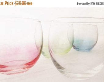ON SALE Vintage Roly Poly Rocks Glass Set of Four, Glassware, Red, Blue, Green, and Clear, Gem Tone, Barware Mid Century, 1960's