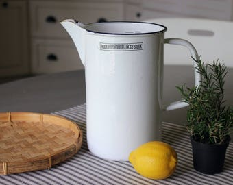 White Enamelware Pitcher . Dutch Typography . Modern Farmhouse Kitchen . Fixer Upper Decor . Cottage Decor . European Enamel Ware