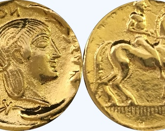 Artemis, Goddess of the Hunt, Twin Sister of Apollo,Horse and Rider, 24K Gold Plate (# 8-G)