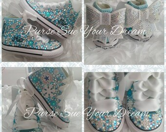 Disney Frozen Themed Custom Converse Shoes - Frozen Birthday Outfit -  Disney Frozen Shoes