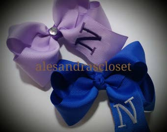 Embroidered Letter N Initial Monogram Hair Bow Girls Toddler Tween Hair Bow Simple Bows Everyday Hair Bows School Spring Summer Hair Bows