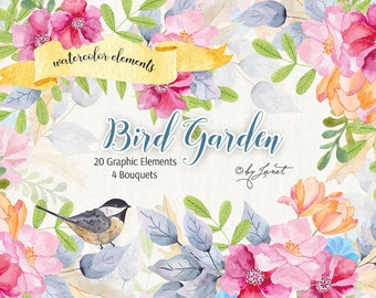 Bird Garden - Floral Watercolor Elements - PNG file