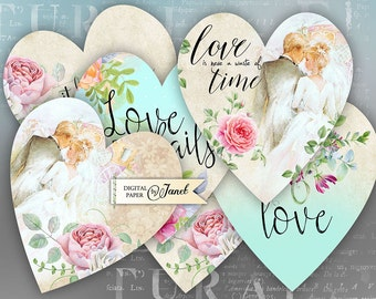 Love Lives Here - digital collage sheet - set of 6 hearts - Printable Download