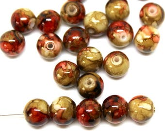 8 mm Red and Tan Mottled Glass Beads
