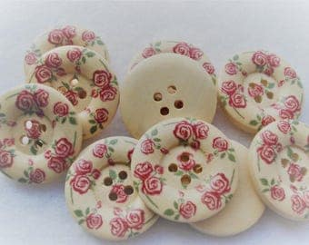 25mm Wood Buttons with Red Rose Flower Print Pack of 10 Buttons W2508