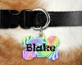 Personalized Dog Tag - Tie Dye Dog Tag - Dog ID Tag - Custom Dog Tag - Dog Collar Tag - Pet ID Tag Dog - Custom ID Dog Tag - Custom Pet Tags
