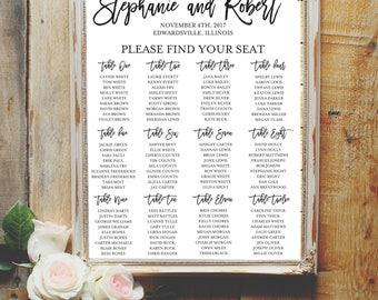 DIGITAL DESIGN:  Modern Wedding Seating Chart - Wedding Seating Chart - Reception Seating Chart - Party Seating Chart - Reception Sign