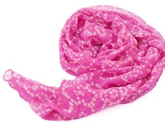 medium pink silk scarf, tie dye scarves, small silk shawl, indian scarfs, pink scarf, hippie boho bohemian festival scarves, silk wrap