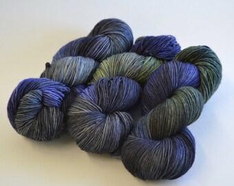 Hand dyed yarn pick your base -Twilight- sw merino cashmere nylon fingering dk worsted