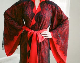 "Long lined ""Fountainbleu"" lace robe Black & red Lingerie kimono in faux silk crepe Oriental Burlesque Boudoir French Art deco luxury robe"