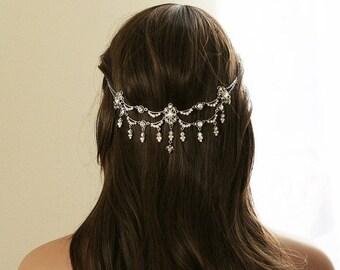 SALE - Crystal Bridal Headpiece  |  Vintage inspired Rhinestone Wedding Headpiece | Bridal Hair Piece | Hair Jewelry | Boho Hair Accessory