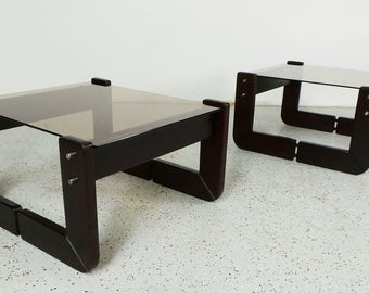 pair mid century modern Percival Lafer Brazilian rosewood and tinted glass end tables