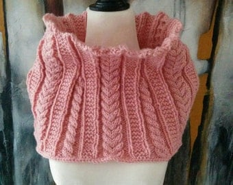Soft Pink Hand Knit Cable Cowl Scarf READY TO SHIP