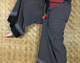 Thai long wide Pants, Cotton Style in Shades of Black
