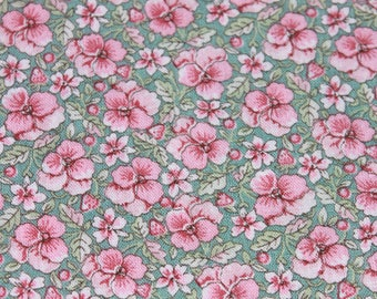 Vintage Small Print Pink Flower Cotton Fabric on Green Background by the yard, Pastel Floral Sewing Quilting Fabric, BTY Yardage