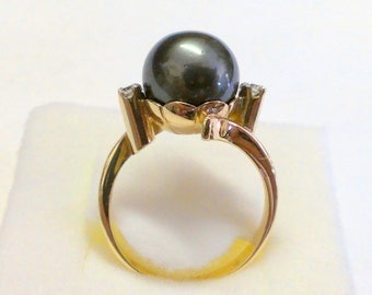 Vintage 14K Tahitian Yellow Gold Pearl Ring Size 9
