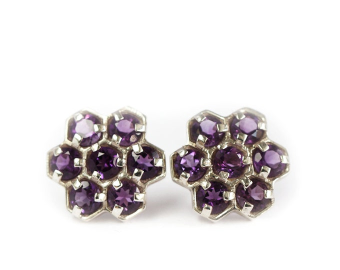 Earrings gemstones clusters - amethyst - silver 925 - geometric pattern earrings - amethyst jewelry