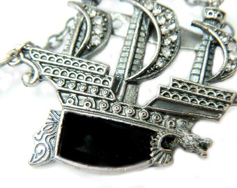 Dragon Pirate Ship Brooch Black Enamel Rhinestone Vintage Pin For Women Silver Nautical Ship Sailor Vintage Collectible Jewelry