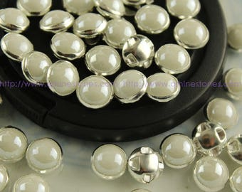 Sew on Pearls Round Ceramic White silver color prong setting 6mm 7mm 8mm 10mm 12mm
