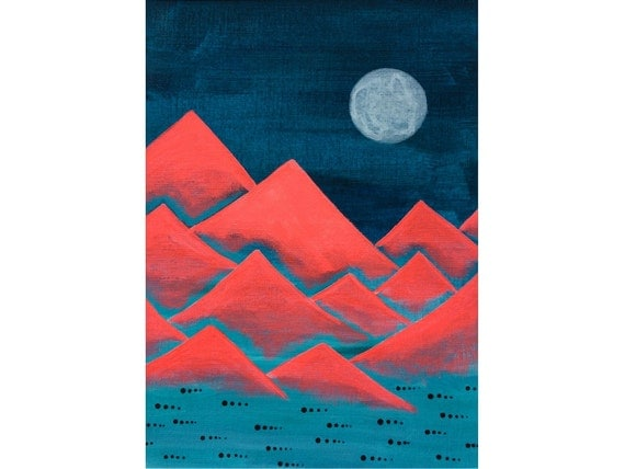 Funky Mountains No. 10 - original acrylic painting on paper, full moon neon red mountain decor, surreal mountains painting, winter landscape