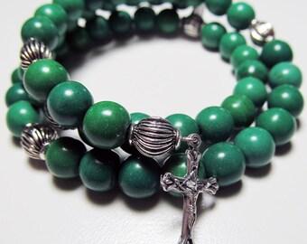 Green 5 Decade Rosary bracelet, Magnesite beads, Wrap Rosary, memory wire, Five decade Rosary bracelet -176
