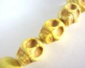 15x18mm Skull Yellow Howlite Beads Gemstone Sugar Skull Heads