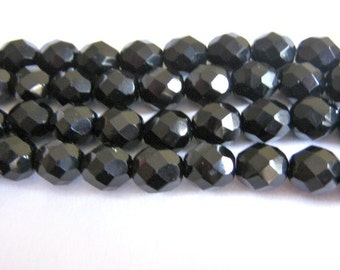 4mm Faceted Round Black Czech Glass Beads Jet 50pcs