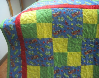 Trains, Planes & Autos Baby and/or Toddler Quilt