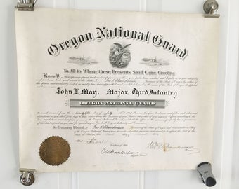 1903 oregon national guard major third infantry certificate
