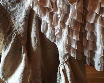 Larger Size Mocha Ruffled Throw Drapey Soft Chiffon Ruffles on Knit Background Romantic Victorian
