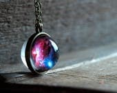 Nebula double sided necklace,Space jewelry,Cosmic necklace,Pink Blue galaxy necklace,glass dome necklace, Galaxy jewelry,Universe necklace