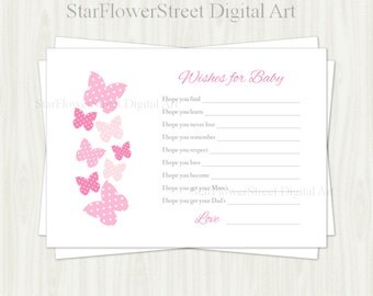 Wishes for Baby Printable pink polka dot butterfly cards shower decoration party well wish advice butterflies digital download