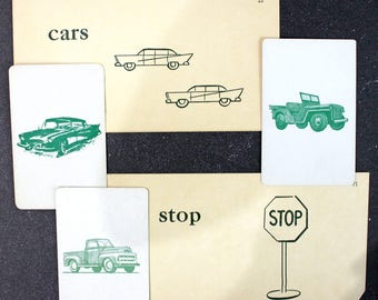 On the Road*Set of Word and Picture Flashcards*Junk Journal, Planners, Scrapbooks, Collages*Vintage Children's Flashcards