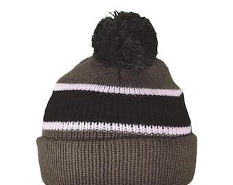 Kids Grey, Black and White Pom Pom Personalized Beanie Custom Knit Hat