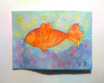 Gold fish aceo, ocean aceo, sea aceo, watercolor aceo, artists trading card, hand painted aceo, original aceo painting, watercolor miniature