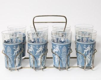 Grecian Glasses and Rack Set 8 Piece Hellenic Jeannette Blue Jasperware 1960s Gold Rimmed