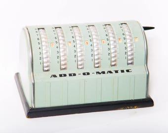 Seafoam Green Add-O-Matic 1940s Adding Machine