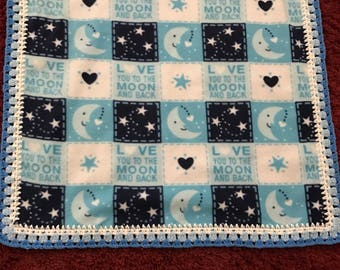 I Love You To The Moon  Newborn Blanket
