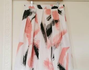 HANDPAINTED PLEATED SKIRT, printed skirt, rehearsal dinner skirt, pink black white brushstrokes print skirt, garden party skirt