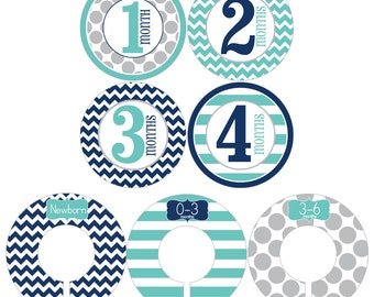 Monthly Stickers and Clothing Dividers Gift Set for Baby Boys in Navy, Aqua and Gray - BGS006