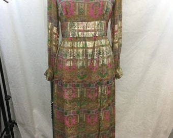 VINTAGE Pink, Green, Gold Metallic Shimmer Long Sleeve Empire Waist Maxi Dress Size Medium