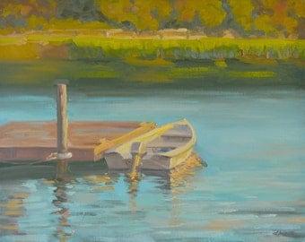Sunset Beach - Oil Painting - Boat - Dock - Pier- Water - South Carolina - Pond - Lake - Plein Air - Seascape - Rowboat - Wharf - Landscape