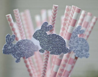20 SILVER BUNNY on Pink Paper Straws. Glitter Bunny. Bunny Birthday Party. Paper Straw Mix: Light Pink Party Supplies Party. Decor Bar