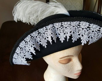 Pirate tricorn - black 100% wool with silver lace trim.