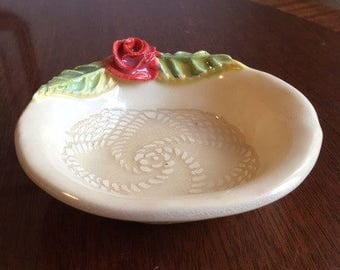 Handmade Ceramic Soap Dish With A Red Rose And Lace Design