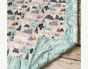 10% OFF FLASH SALE Adventure Awaits Woodland Mountain Double Sided Minky Blanket, Girl, Boy,blanket pin, baby bedding neutral, modern, showe